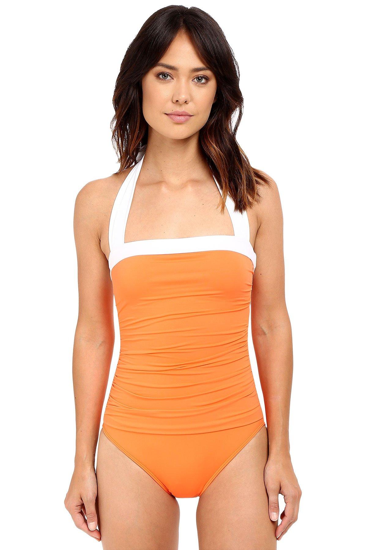 LAUREN Ralph Lauren Women's Bel Aire Solids Shirred Bandeau Mio Slimming Fit w/ Soft Cup Tangerine Swimsuit