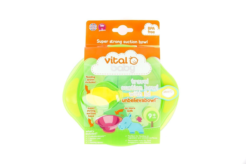 avec couvercle et cuill/ère / /Vert et turquoise Vital Baby Unbelievabowl Voyage Aspiration Bol 2pk