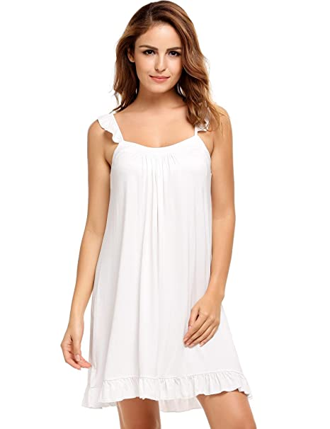 7e393a3b15 Image Unavailable. Image not available for. Color: etuoji Womens Sleeveless Nightdress  Ruffles Square Neck ...