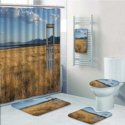 Amazon Com 5 Piece Bathroom Set An Door Standing Alone In A Grassy