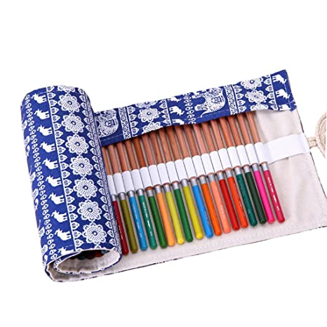 36/48/72 Holes Pencil Case School Canvas Roll Pouch Comestic Makeup Brush Case Pen Storage pecncil box Estuches School penalty
