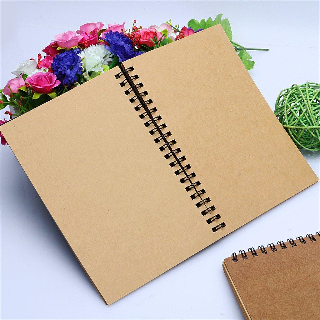 Papier Kraft /à lint/érieur de la Page Exing Retro Spirale Bobine Bobine Croquis Livre Blanc Cahier Kraft Croquis Papier Couverture de Papier Kraft
