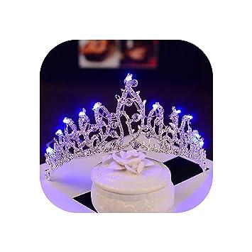 Amazon.com: Diadema de corona para novia, con luces de ...