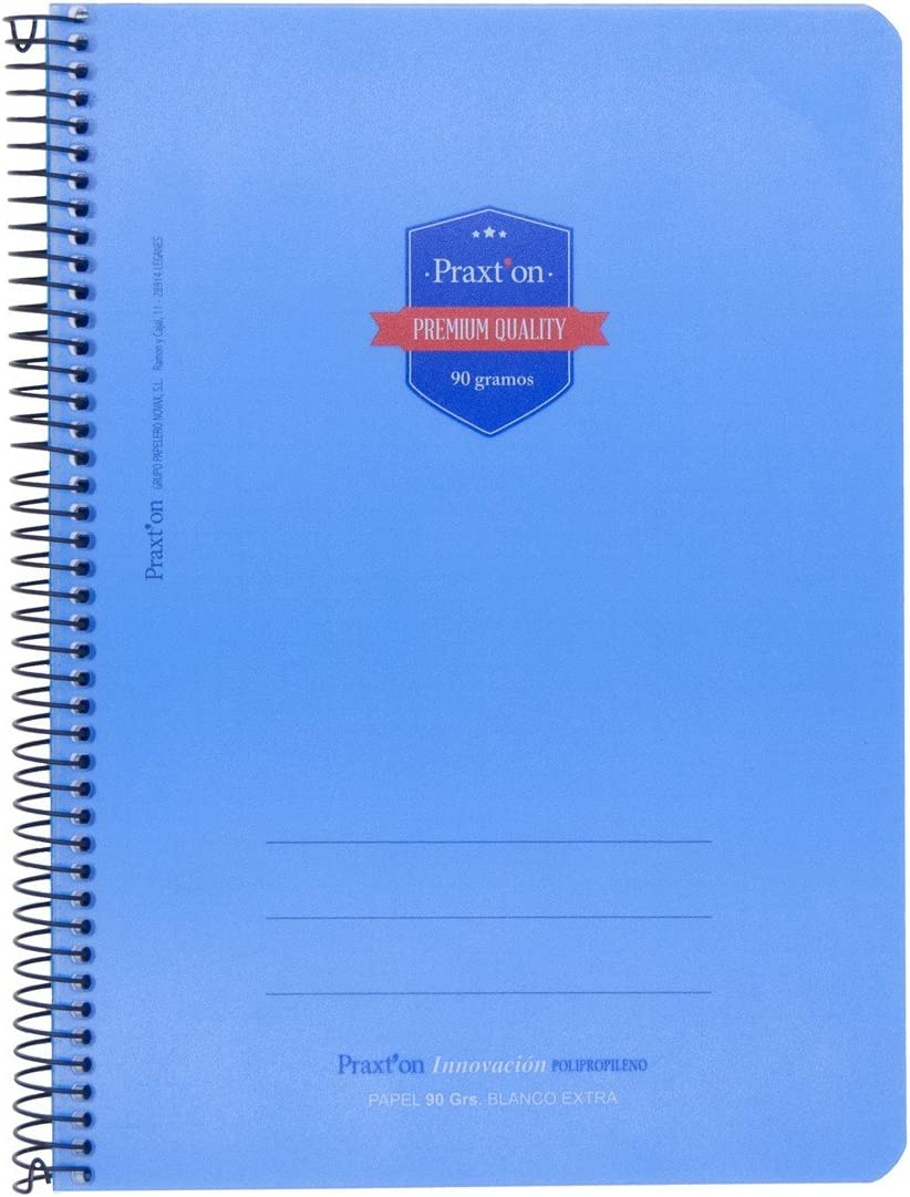 Cuadernos Espiral PRAXTON Premium Pack x6 Folio 80H Pauta 3,5 mm Tapa Pl/ástico