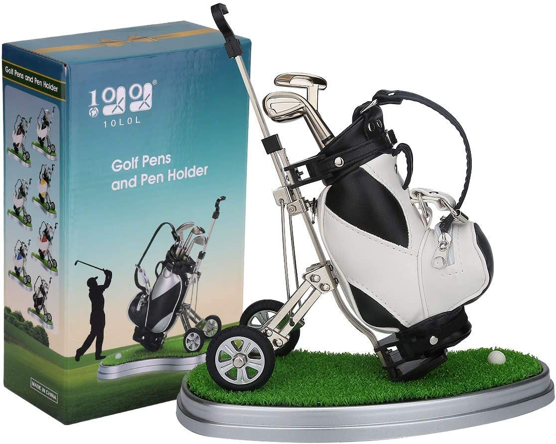 10L0L Golf Pens with Golf Bag Holder,Novelty Gifts with 3 Pieces Aluminum Pen Office Desk Golf Bag Pencil Holder