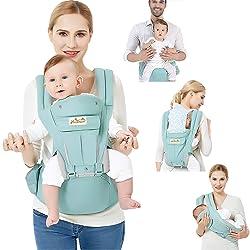 Viedouce Porte bébé Ergonomique avec Siège à Hanche/Pur Coton Léger et Respirant/Multiposition:Dorsaux,Réglable pour Nouveau-né et Petit Enfant de 0 à 4 ans (3,5 à 20 kg)
