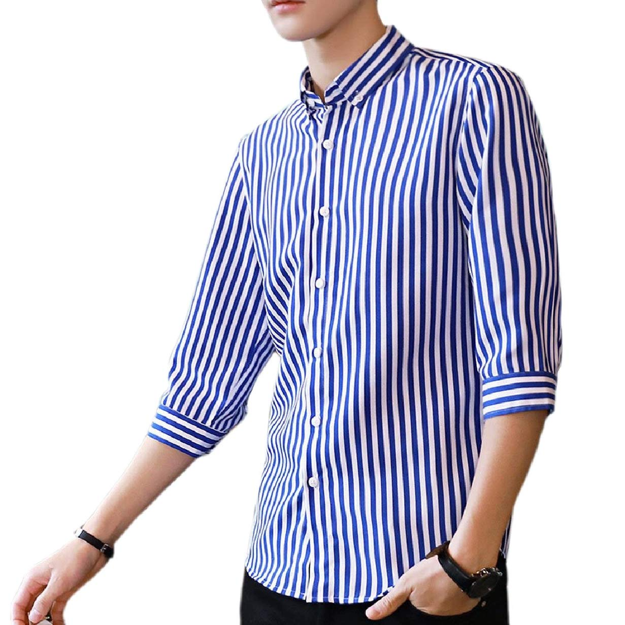 CBTLVSN Mens Funny Slim Classic Cardigan Striped Half Sleeve Dress Shirt Tops