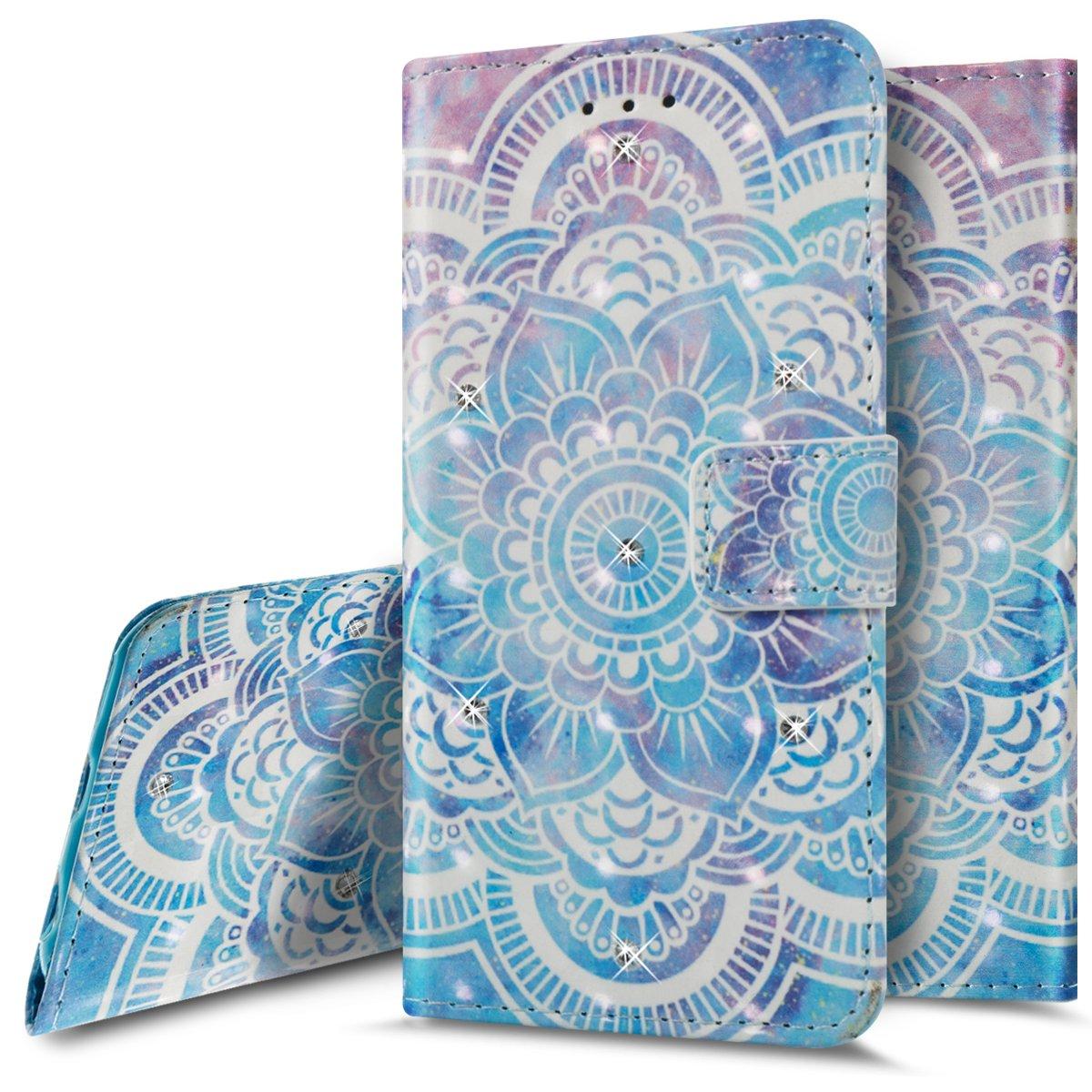 iPhone 6s財布型ケース、iPhone 6フリップケース、phezenエレガントな3dキラキラブルードリームキャッチャーパターンデザインPUレザー財布[スタンド機能] [カード/現金スロット]保護フリップケースカバーfor iPhone 6 / 6s 4.7