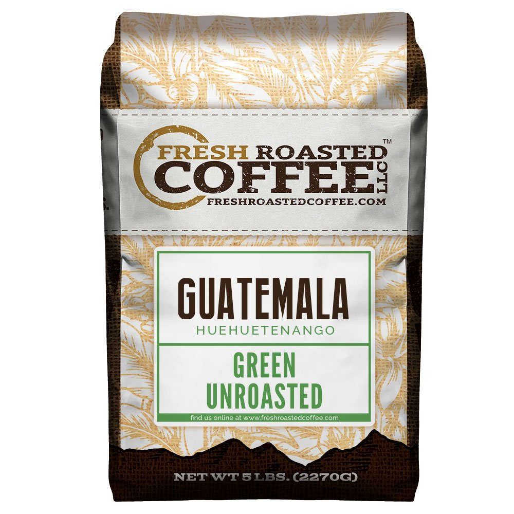 Fresh Roasted Coffee LLC, Green Unroasted Guatemalan Huehuetenango Coffee Beans, 5 Pound Bag by FRESH ROASTED COFFEE LLC FRESHROASTEDCOFFEE.COM