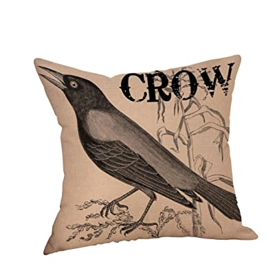 Allywit Halloween Crow Pillow Case, Happy Halloween Pillow Cases Crow Linen Sofa Cushion Cover Home Decor (A): Home & Kitchen
