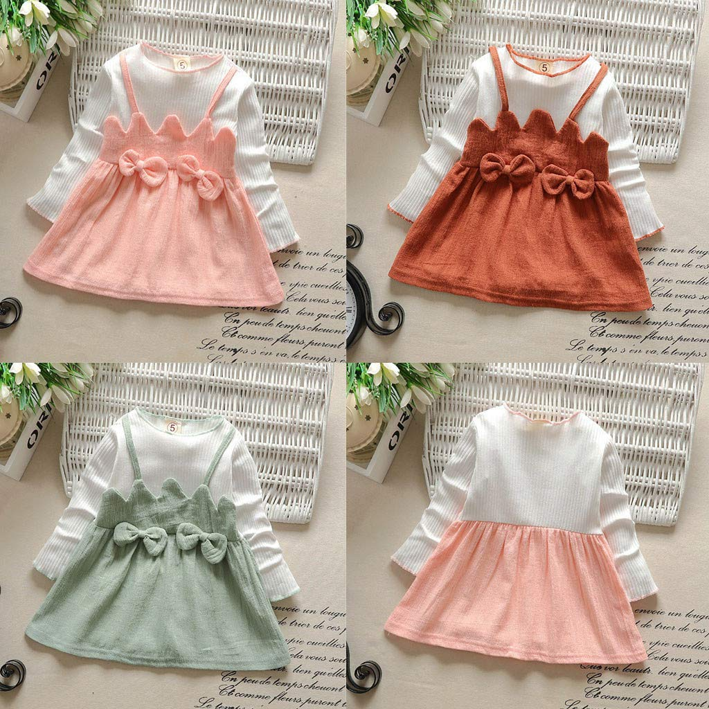 GridNN Formal Dress for Baby-Toddler Kid Baby Girl Long Sleeve Bow Patchwork Party Princess Dress Tops