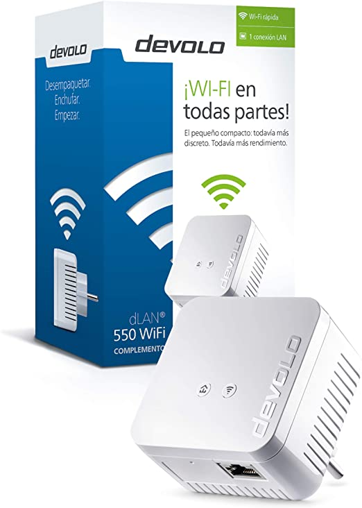 Devolo dLAN 550 WiFi PLC - Adaptador de red (Internet de 500 Mbit/s a través de la red eléctrica, 300 Mbit/s a través de WiFi, 1 puerto LAN, 1 adaptador Powerline, adaptador