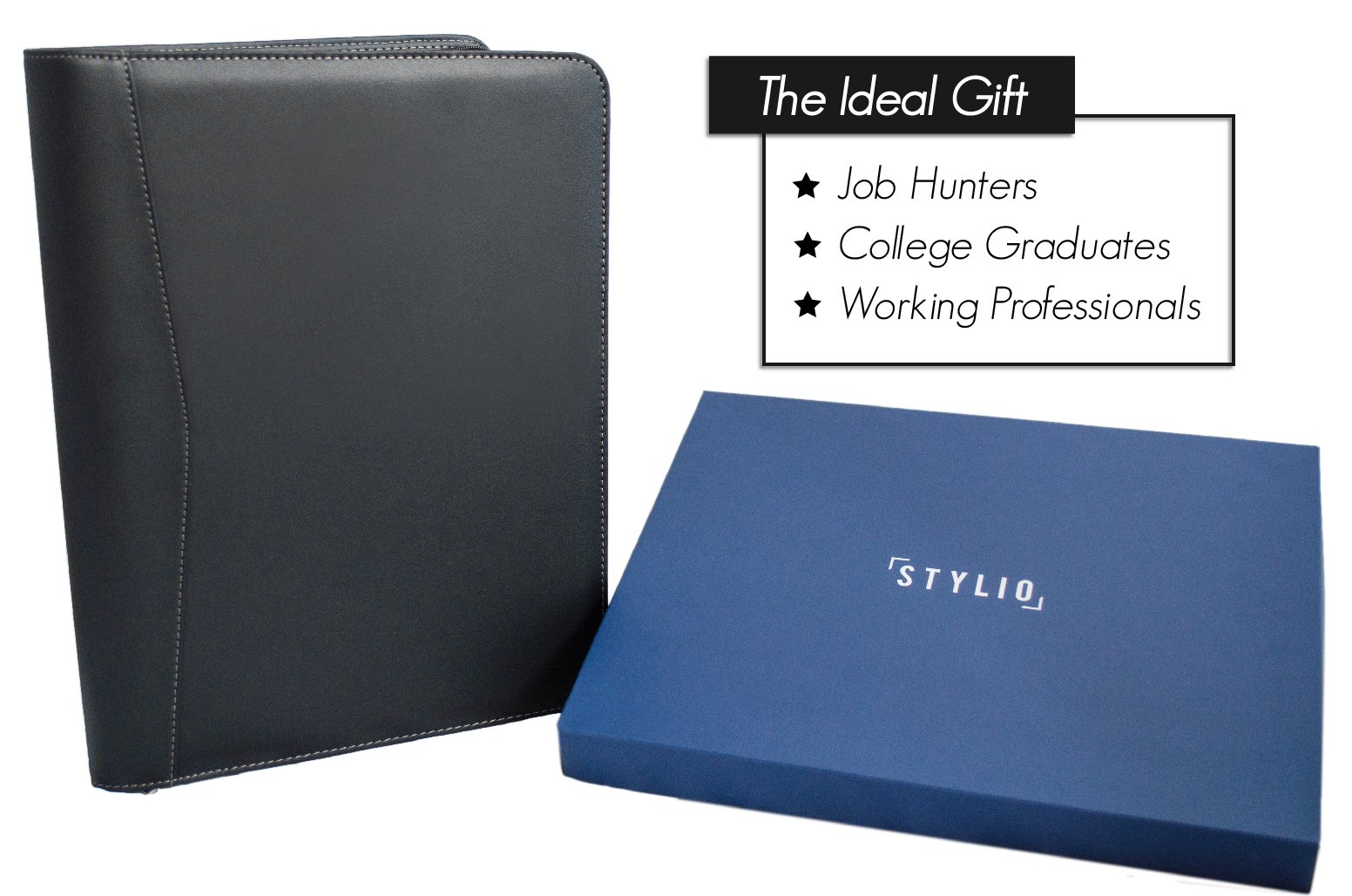 STYLIO Zippered Portfolio w Premium Pen, Padfolio Binder, Interview Resume Document Organizer. Holders for iPad/Tablet (up to 10.1''), Phone & Business Cards. Faux Leather Case. w Letter-Sized Notepad by Stylio (Image #7)