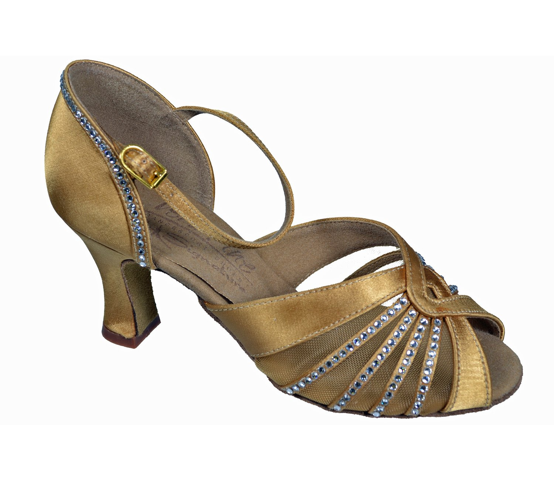 Very Fine Ladies Women Ballroom Dance Shoes EKSA11001 Tan Satin Clear Rhinestones 2.5'' Heel (9.5M)