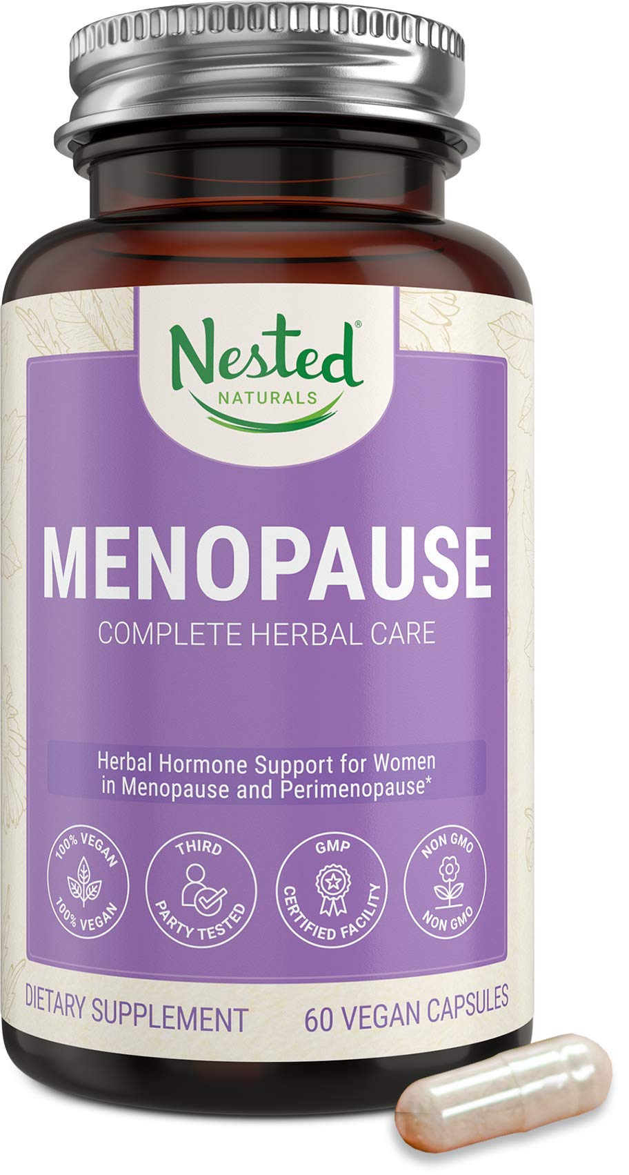 Menopause Complete Herbal Care Supplement for Women   60 Vegan Capsules   Natural Black Cohosh Extract & Dong Quai Root   Support for Mood Swings & Hot Flashes   One A Day Menopause Relief