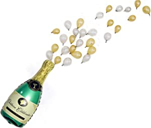 """Pop The Bubbly! Balloon Pack Giant Champagne Balloon Kit, 40"""" Large Champagne Balloon with 30 Gold & Silver Mini Latex Balloons - Party Decorations for Bachelorette, 21st Birthday Party Decorations"""