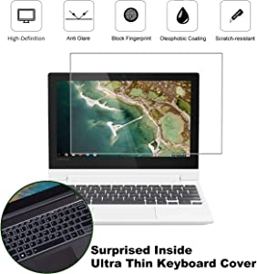 KEANBOLL 2 Pack Matte Anti-Glare Screen Protector for Lenovo Chromebook C330 / 2020 2019 Lenovo 2-in-1 11.6 Inch Chromebook Laptop with Surprise Keyboard Skin, Help for Your Eyes Reduce Fatigue