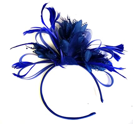 Royal Blue Feather Hair Fascinator Headband Wedding and Royal Ascot ... c047250be10