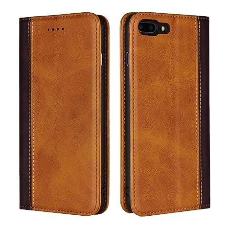49ab37c2b8c DENDICO Cover iPhone 7 Plus/iPhone 8 Plus, Flip Libro Portafoglio Custodia  in Vera