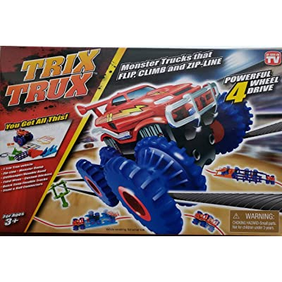 TRIX TRUX Monster Trucks That Flip, Climb and Zip - Line Powerful 4 Wheel Drive: Toys & Games