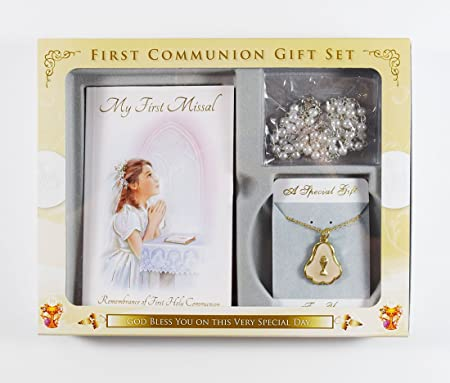 First Holy Communion Gift Set Rosary Beads Chalice Necklace Missal Book Girls: Amazon.co.uk: Office Products