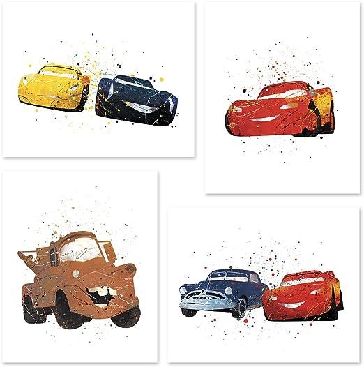 Amazon Com Pgbureau Cars Movie Poster Inspired Watercolor Wall