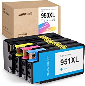 ZIPRINT Compatible Ink Cartridge Replacement for HP 950XL 951XL 950 951 for Officejet Pro 8600 8100 8620 8610 8615 8625 8630 8640 8660 251dw 276dw (1 Black, 1 Cyan, 1 Magenta, 1 Yellow, 4-Pack)