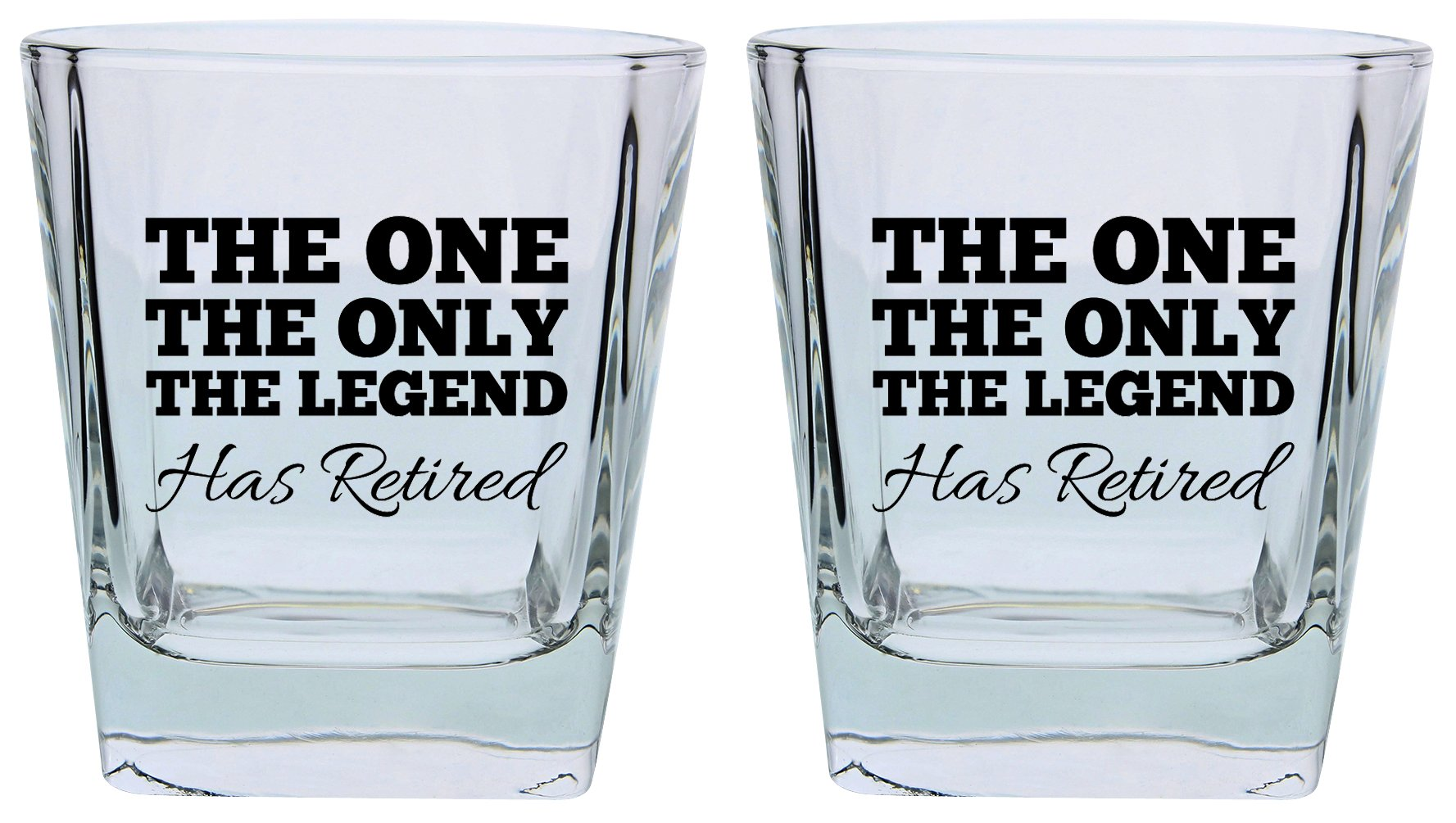 Retirement Gifts for Women or Men the One Only Legend Has Retired Funny Retirement Gift Set Square Lowball Glasses 2-Pack Square Lowball Tumbler Set Black