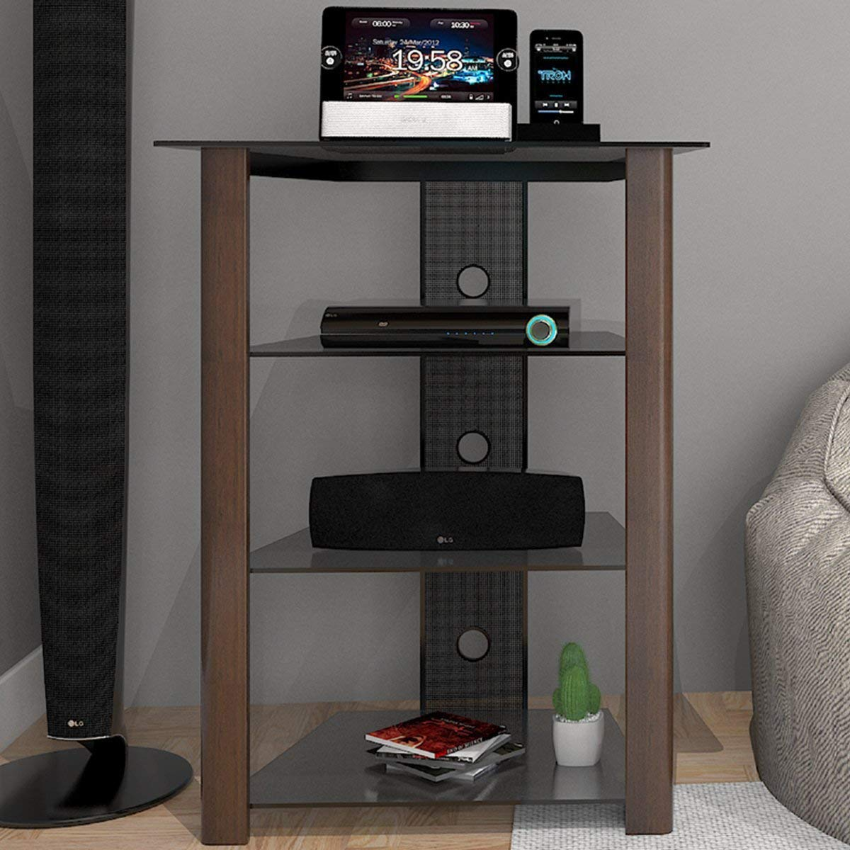Ryan Rove Ashton Multi-Level Media Component Stand - Living Room Furniture, Home Theater System, Entertainment Center, Console Shelf and Storage Rack - Cable Management, Glass Shelves - Wood Espresso by Ryan Rove