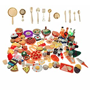 SIX VANKA Miniature Food Toys 110pcs Mixed Resin Pizza Hamburgers French Fries Drinks Decoration Tableware Doll House Playset for Childrens Pretend Play Kitchen Cooking Game Birthday Party Presents