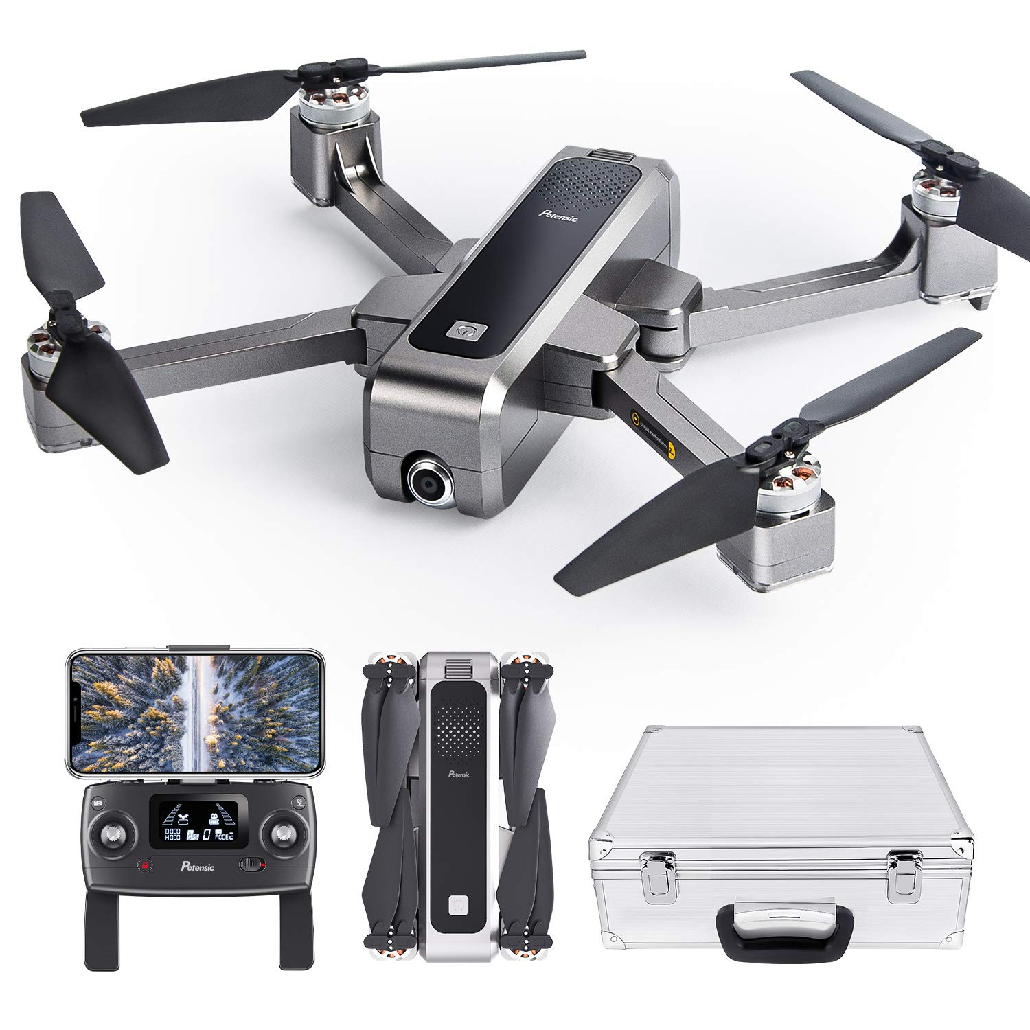 Potensic D88 Foldable Drone, 5G WiFi FPV Drone with 2K Camera, RC Quadcopter for Adults and Experts, GPS Return Home, Ultrasonic Altitude Setting, Optical Flow Positioning, Brushless Motors with Case by Potensic