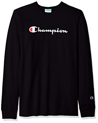 50a741af Champion LIFE Men's Heritage Long Sleeve Tee, Black/Ink Graphic/Script,  Small