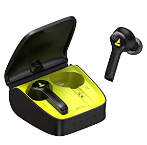 boAt Airdopes 501 Twin Wireless Earbuds with Angular Never Drop Design, Plush Leather Case, Super Touch Controls, Up to 20H Playback with Case, IPX5 Water Resistance and Bluetooth V5.0 (Spirit Lime)