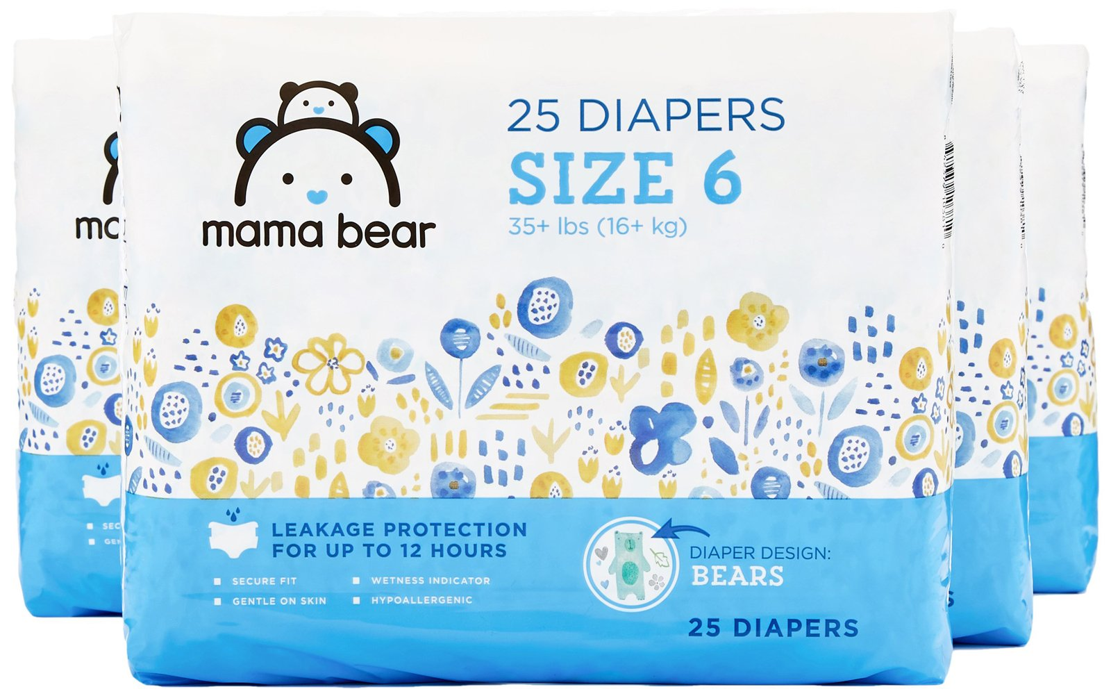Amazon Brand - Mama Bear Diapers Size 6, 100 Count, Bears Print (4 packs of 25) [Packaging May Vary] by Mama Bear