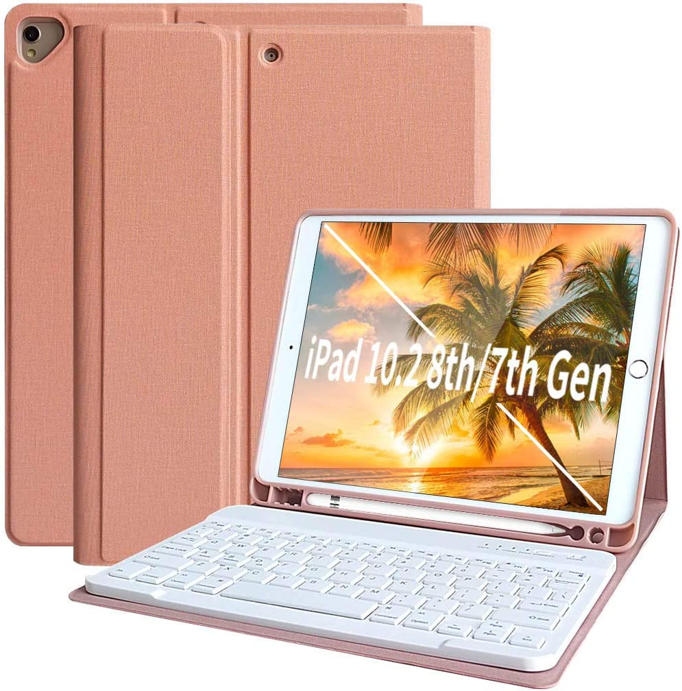 iPad 8th Generation Case with Keyboard iPad 8th Generation 2020 7th Gen 2019 Keyboard Case with Pencil Holder Detachable Bluetooth Keyboard for iPad 8th Gen 2020 7th Gen 2019 10.2 inch–Tablet Case