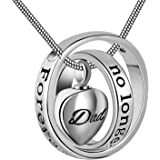 Cring Coco Womens&Mens No Longer by My Side,Forever in My Heart Carved Locket Cremation Urn Necklace for mom & dad