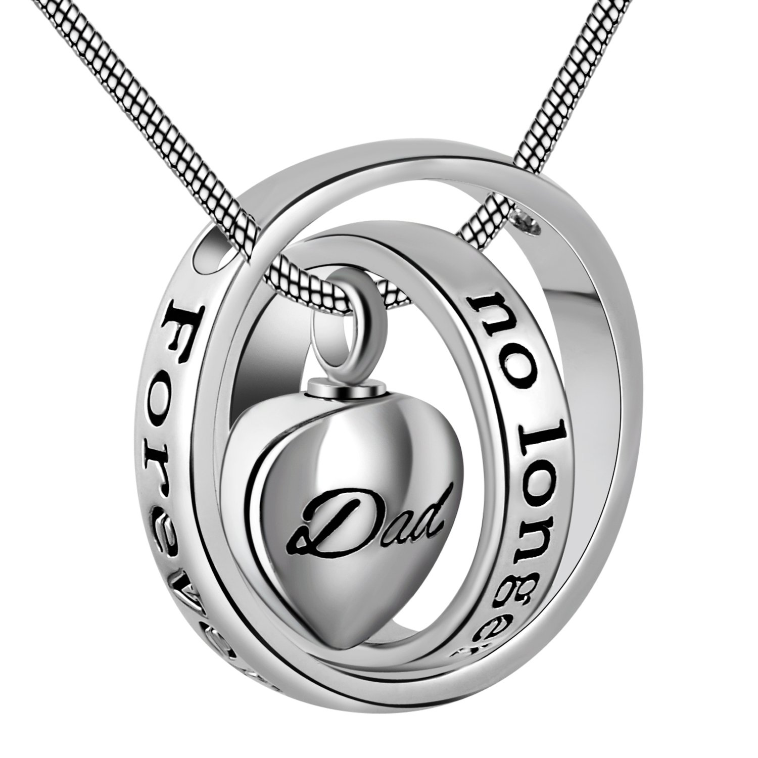 Eternally Loved No longer by my side,forever in my heart carved locket cremation Urn necklace for mom & dad (Dad)