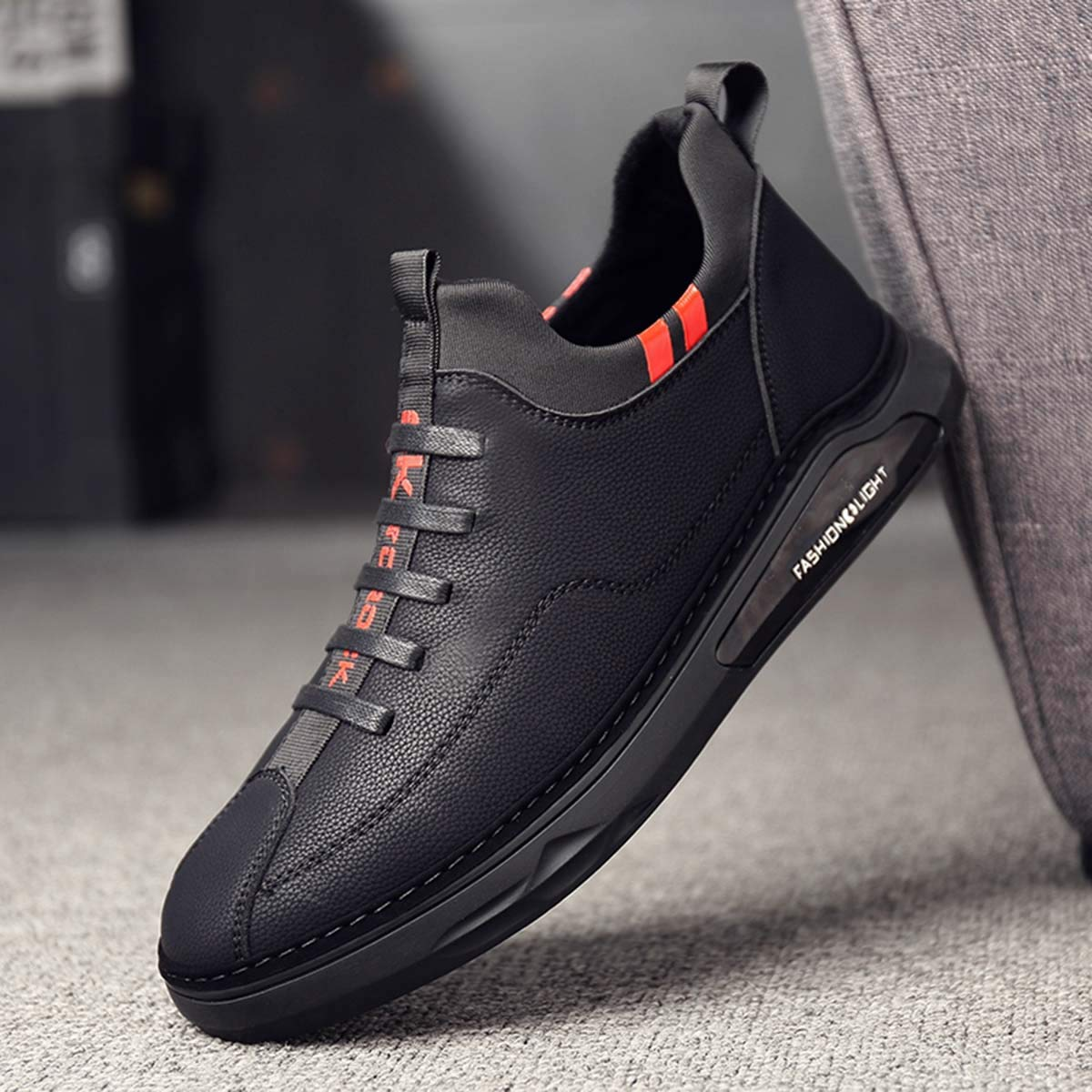 Men Shoes Outdoor Breathable Comfortable Genuine Leather Lace-up Fashion Male Flat Shoes Outdoor Travel Walking Low Top Sneakers Black 8