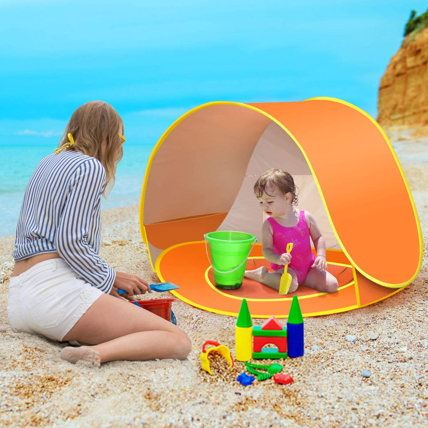 Carry Bag and Detachable Shade for Toddler CeeKii Baby Beach Tent Pop Up Tent Portable Shade Tent UV Protection Sun Shelter with Mini Pool 50+ UPF Infant /& Kids