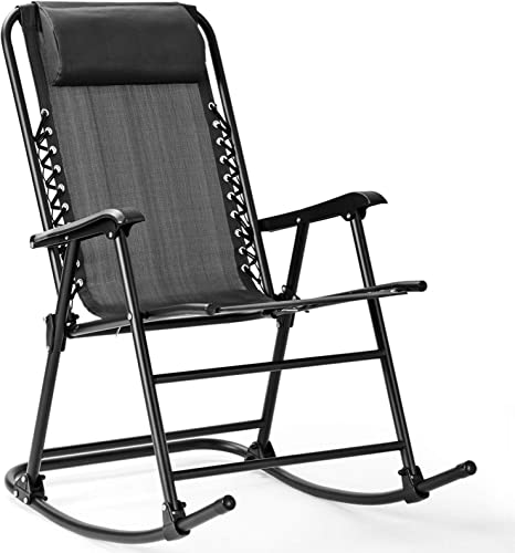 Goplus Folding Rocking Chair Recliner w/Headrest Patio Pool Yard Outdoor Portable Zero Gravity Chair