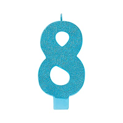 "Amscan 170359 8 Large Glitter Numeral Candle, 5 1/4"", Caribbean Blue: Kitchen & Dining"