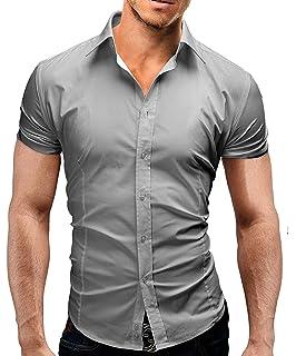 fefed9375 Lyon Becker Mens Short Sleeve Shirts Casual Formal Slim Fit Shirt Top S M L  XL PS05