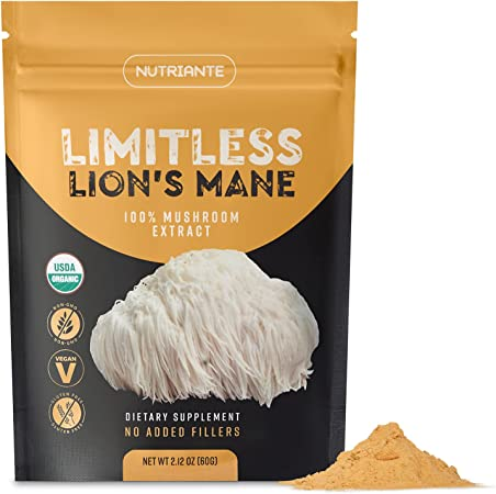Organic Lions Mane Extract Powder – Nootropic Mushroom Supplement Improves Focus & Memory, Immune & Nervous Systems – Concentrated Dual Extract, Vegan, Gluten-Free, Non-GMO by Nutriante, 2.12 Oz.