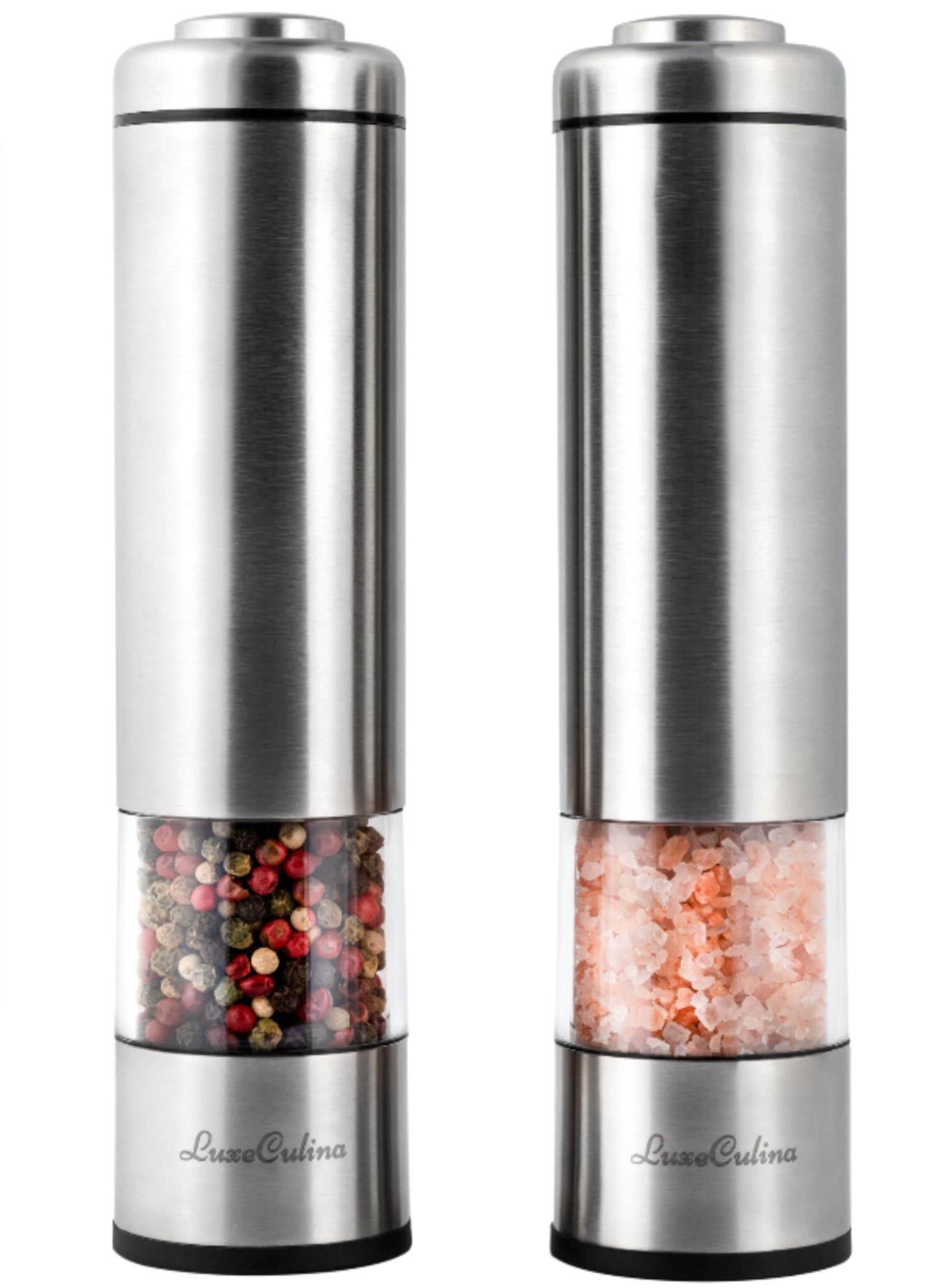 Electric Pepper Grinder or Salt Grinder Mill Set (Pack of 2) by LuxeCulina | Battery Operated with Light | Automatic Shakers with Adjustable Coarseness by LuxeCulina