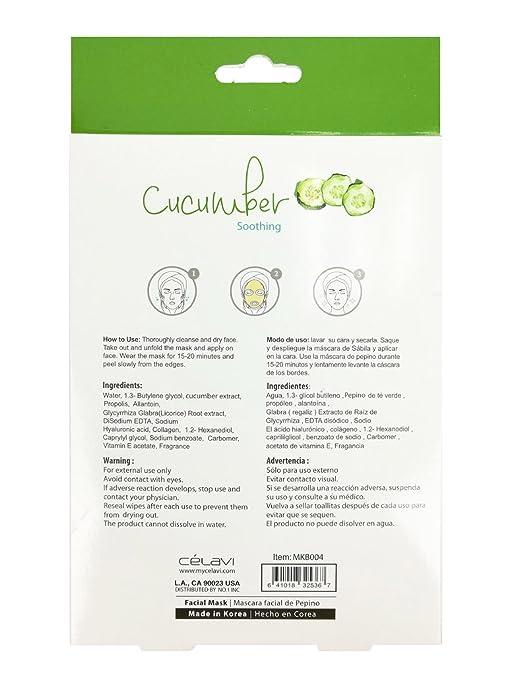 Amazon.com : Celavi Essence Facial Mask Paper Sheet Korea Skin Care Moisturizing 5 Pack Box (Cucumber) : Beauty