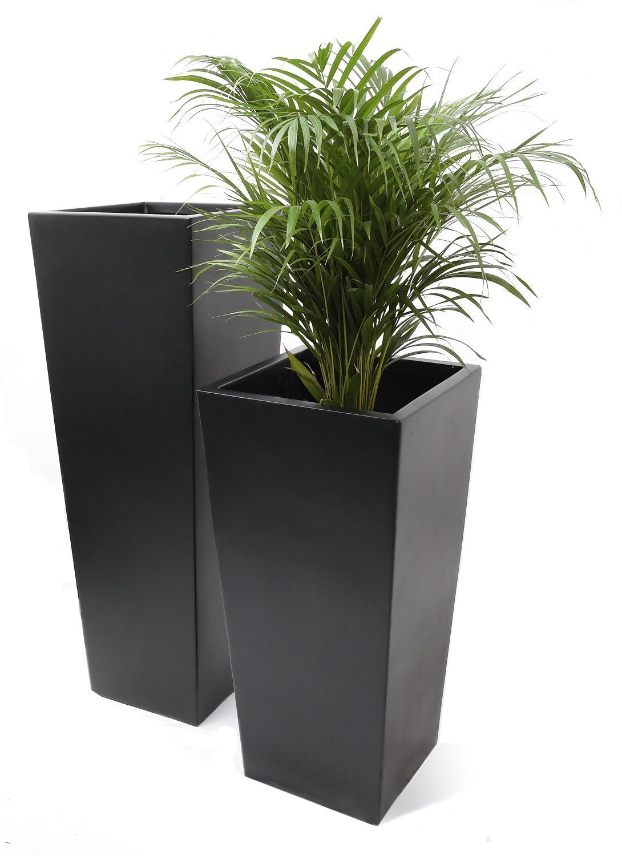 Tall Flared Square Fibreglass Planter - Matt Black - Medium - H90 x 40cm Primrose