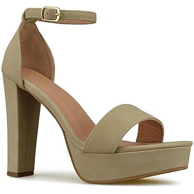Premier Standard Womens Platform Ankle Strap High Heel - Peep Toe Sandal  Pump - Sexy Chunky