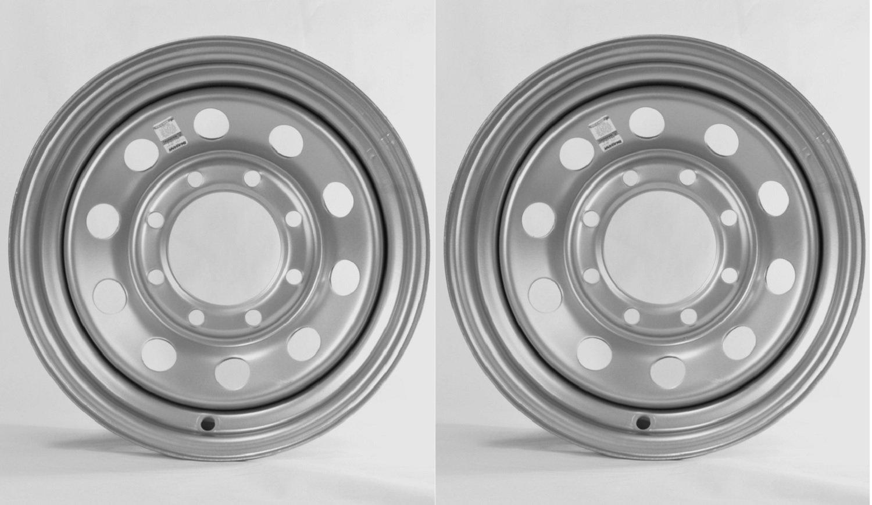 eCustomRim Two Heavy Duty Equipment Trailer Rims Wheels 16'' 16X6 8H Silver Modular Design