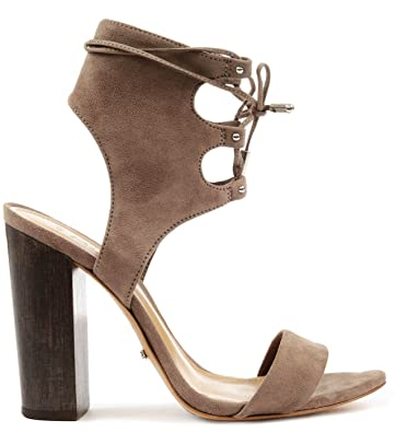 46f0bd160b60 SCHUTZ Cruz Goat Taupe Syede Lace Up High Block Heel Single Sole Sandal  Bootie (5