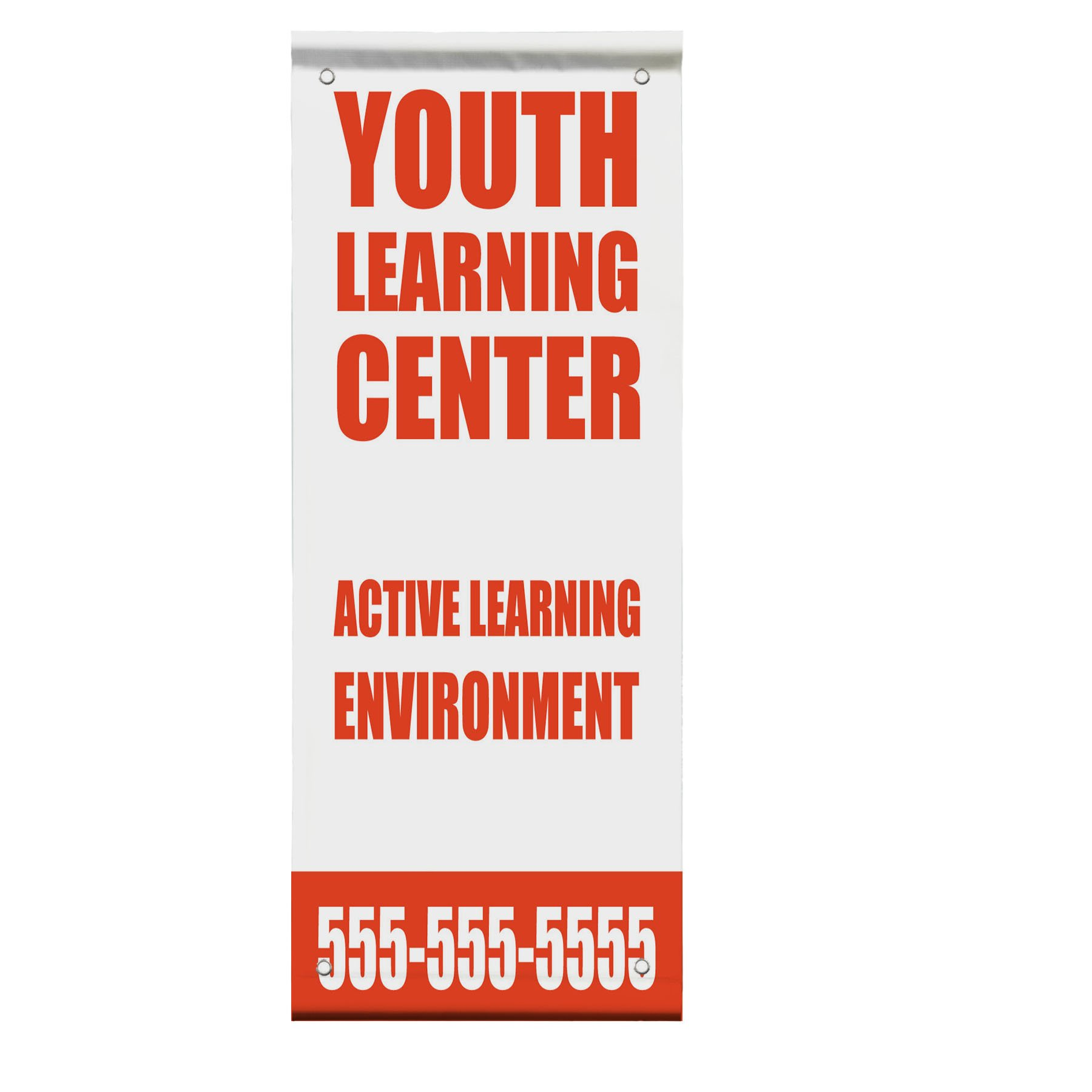 Active Learning Child Care Day Care School Custom Double Sided Pole Banner Sign 36 in x 72 in w/ Pole Bracket